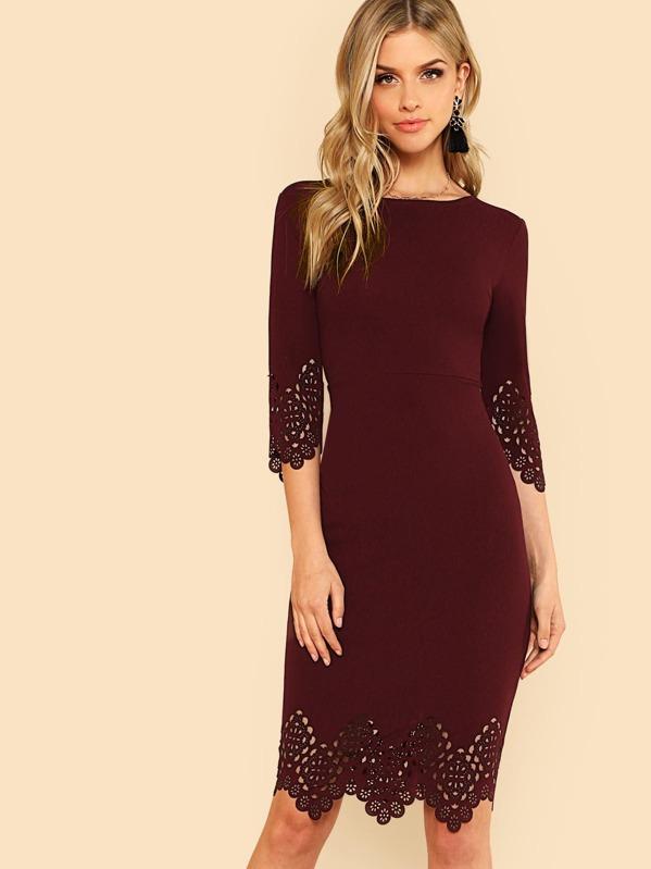 98e8245060 Scallop Laser Cut Pencil Dress | SHEIN