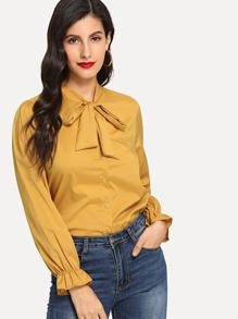 Solid Tie Neck Blouse