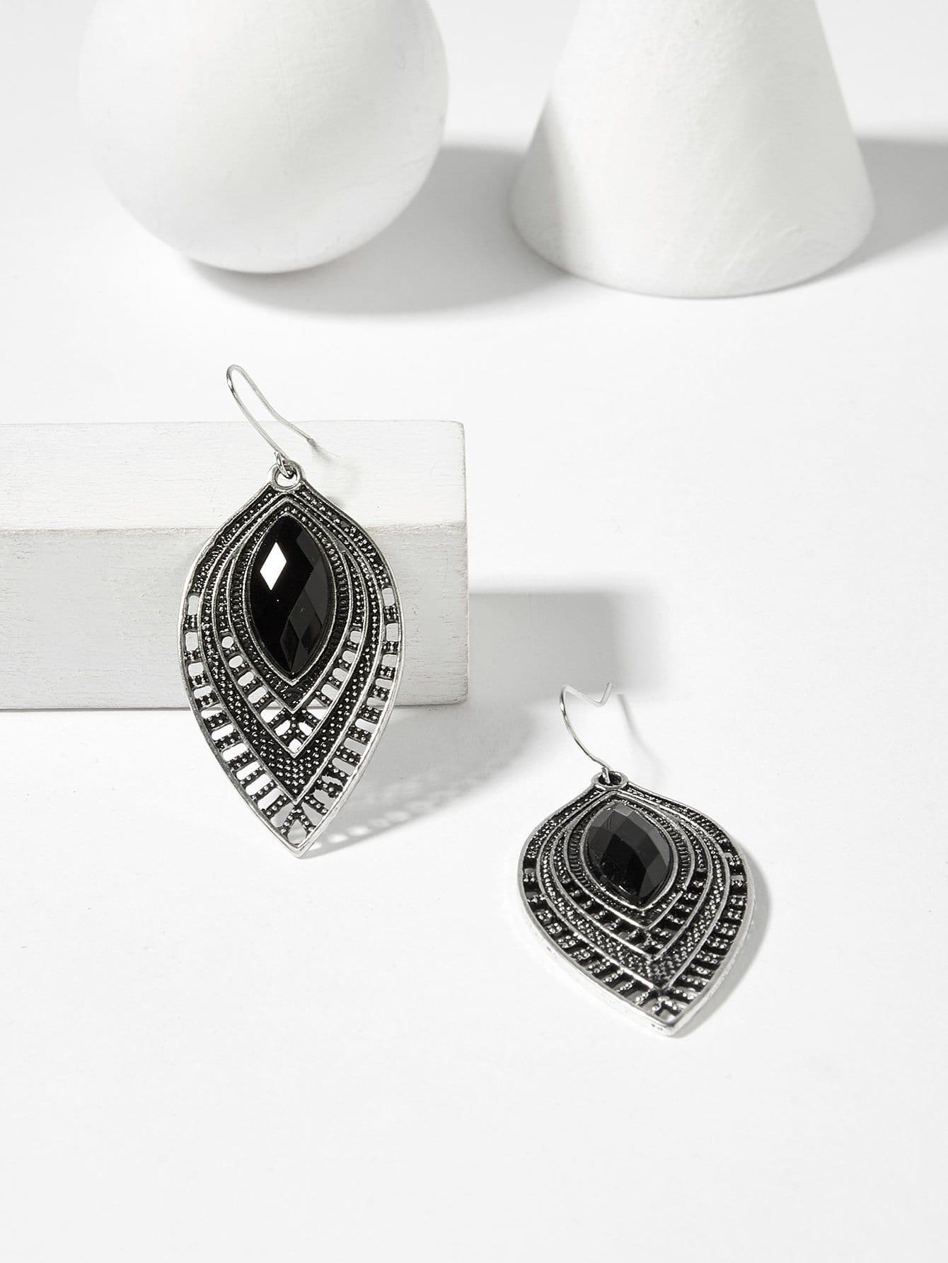 76e5efac11 Gemstone Engraved Hollow Drop Earrings