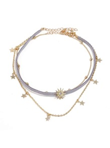 Star Detail Layered Choker