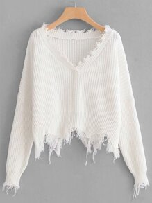 Frayed Trim Drop Shoulder Jumper