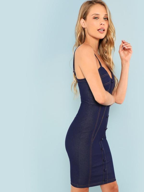 b1c6d16444 Button Sweetheart Neckline Denim Dress