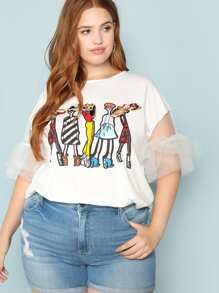 Plus Bow Applique Cartoon Print Mesh Sleeve Tee
