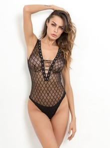 Lace-Up V-Plunge Teddy Bodysuit