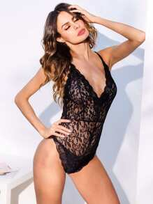 Criss Cross Floral Lace Teddy Bodysuit