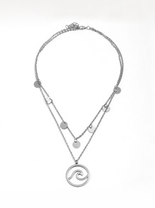 Circle Pendant Layered Chain Necklace