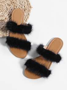 Faux Fur Flat Sliders