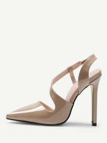 Oblique Strap Point Toe Heels