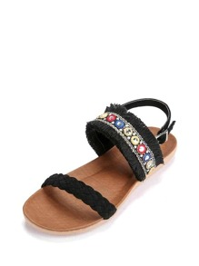 Braided Detail Raw Trim Sandals