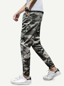 Men Camo Elastic Foot Close Skinny Pants