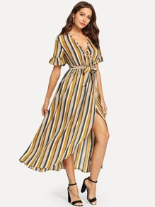 Tie Front Striped Wrap Dress