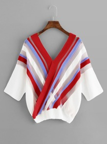 Colorful Striped V Neckline Sweater