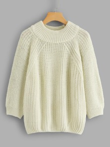Solid Raglan Sleeve Sweater