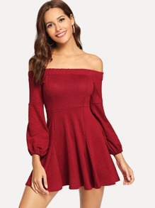 Off The Shoulder Bishop Sleeve Dress