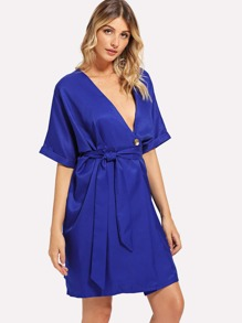 Self Tie Waist Button Wrap Dress