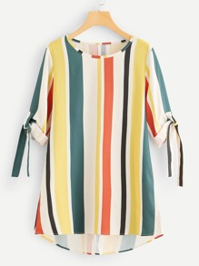 Striped Knot Sleeve Dip Hem Dress