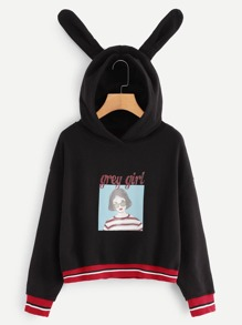 Letter And Figure Print Hooded Sweatshirt