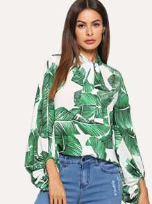 Jungle Leaf Print Tie Neck Top
