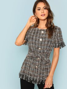 Button Front Raw Hem Tweed Top
