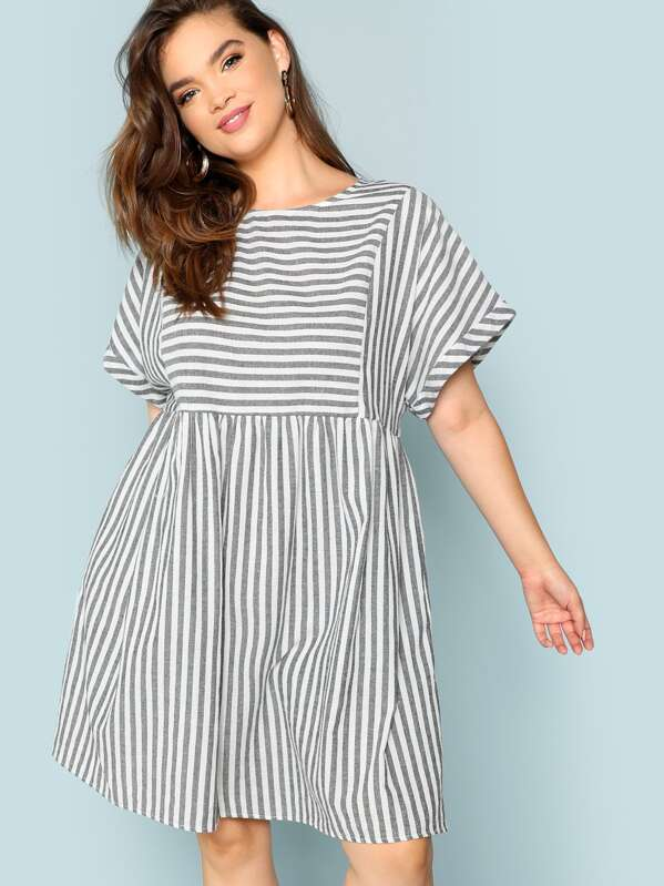 ca3db520ea Cheap Plus Rolled Sleeve Striped Batwing Dress for sale Australia ...