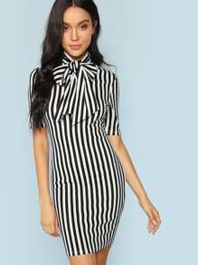 Bow Tie Neck Vertical Striped Bodycon Dress