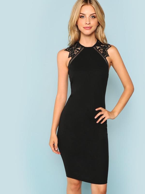 2e519826777 Guipure Lace Panel Bodycon Dress