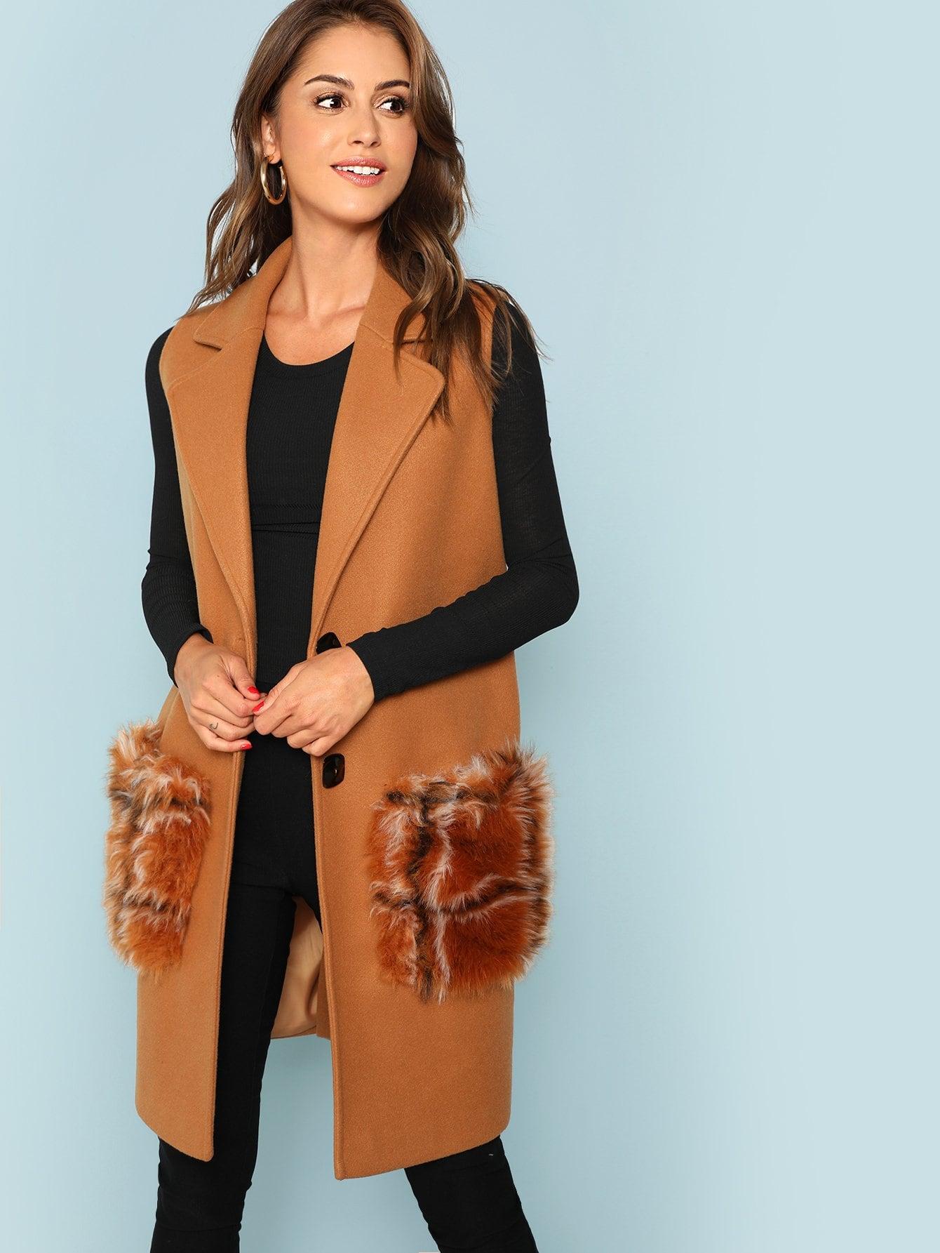 Exaggerate Collar Sleeveless Duffle Coat Exaggerate Collar Sleeveless Duffle Coat