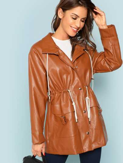 Faux Leather Waist Drawstring Button & Pocket Up Coat
