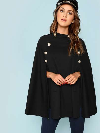 Double Button Mock Poncho Coat