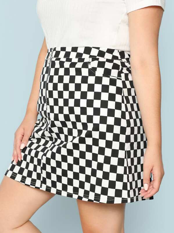 397853184a Plus O-Ring Zip Fly Checkered Skirt | SHEIN