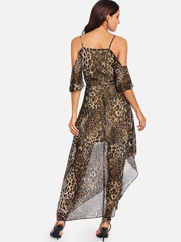 Saum Kleid Mit Leopardenmuster Und Asymmetrischem EH92WDI