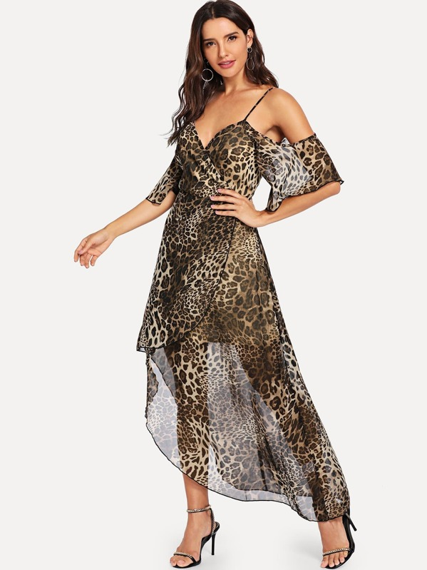 c61ae114edc0 Cold Shoulder Leopard Wrap Dress | SHEIN