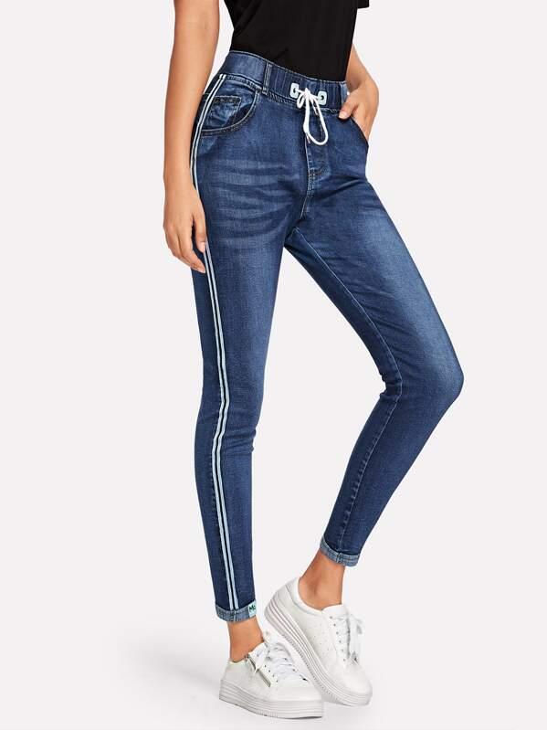 a5ffde9a63 Stripe Tape Side Jeans   SHEIN UK