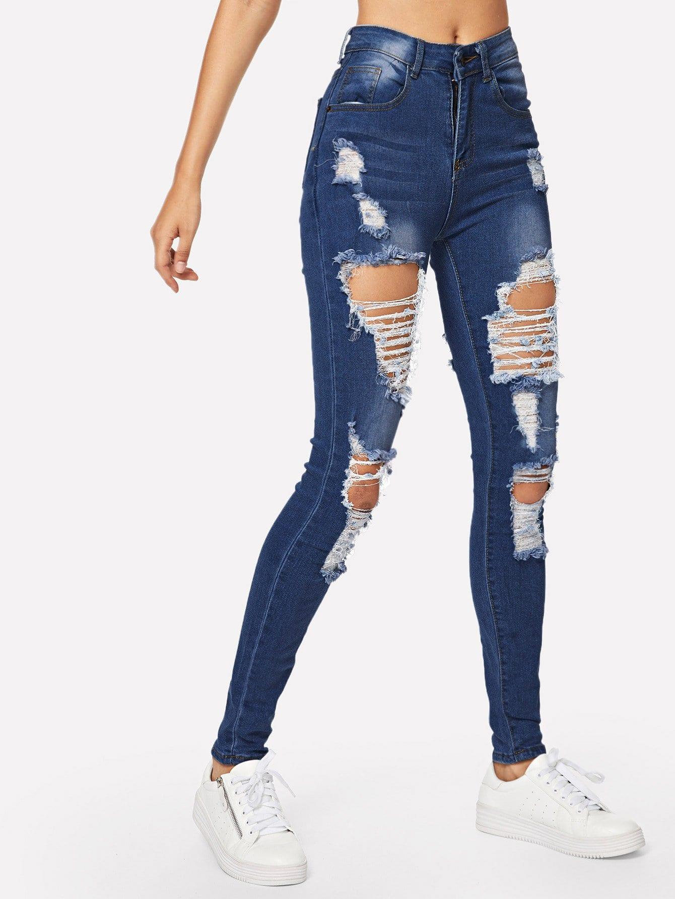 Ripped Bleach Wash Skinny Jeans Shein Uk