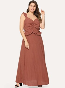 Plus Frill Trim Ruched Front Crop Top and Skirt Set