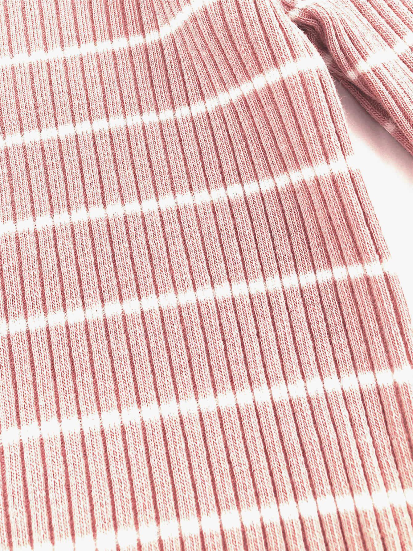 Toddler Girls Lettuce Edge Trim Striped Sweater