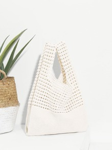 Cut Out Crochet Tote Bag