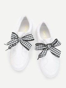 Plaid Bow Design PU Sneakers