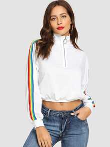 O-Ring Zip Front Colorful Striped Side Jacket