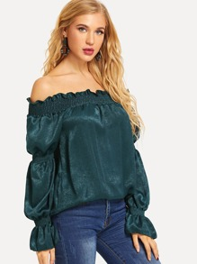 Solid Off-Shoulder Blouse