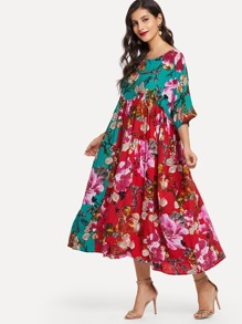 Flower Print Colorblock Dress