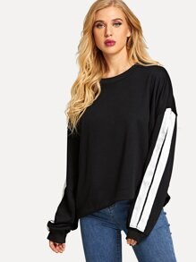 Pocket Back Contrast Stripe Sweatshirt