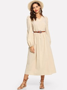 V-Neck Bishop Sleeve Solid Dress