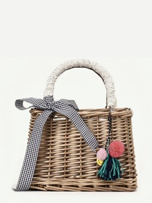Twilly Scarf Woven Straw Bag