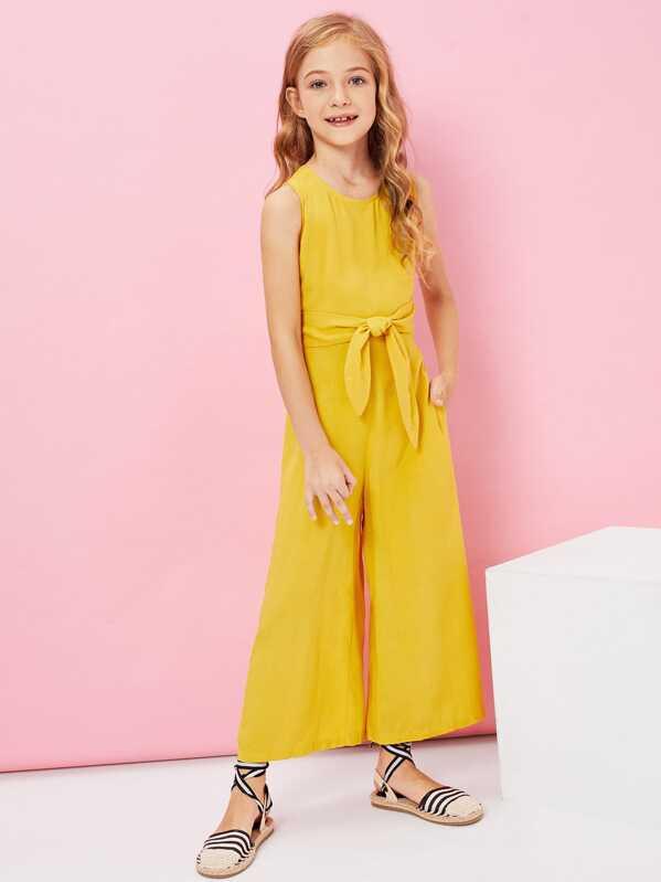 f9e962192945 Girls Solid Sleeveless Wide Leg Jumpsuit   SHEIN