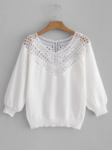Hollow Out Lace Panel Jumper