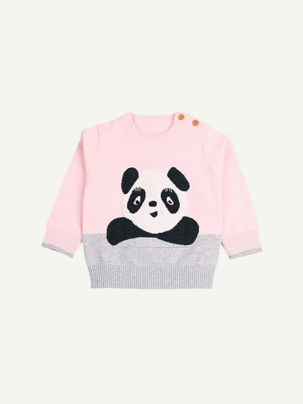 1f77f886868 Toddler Girls Panda Pattern Jumper