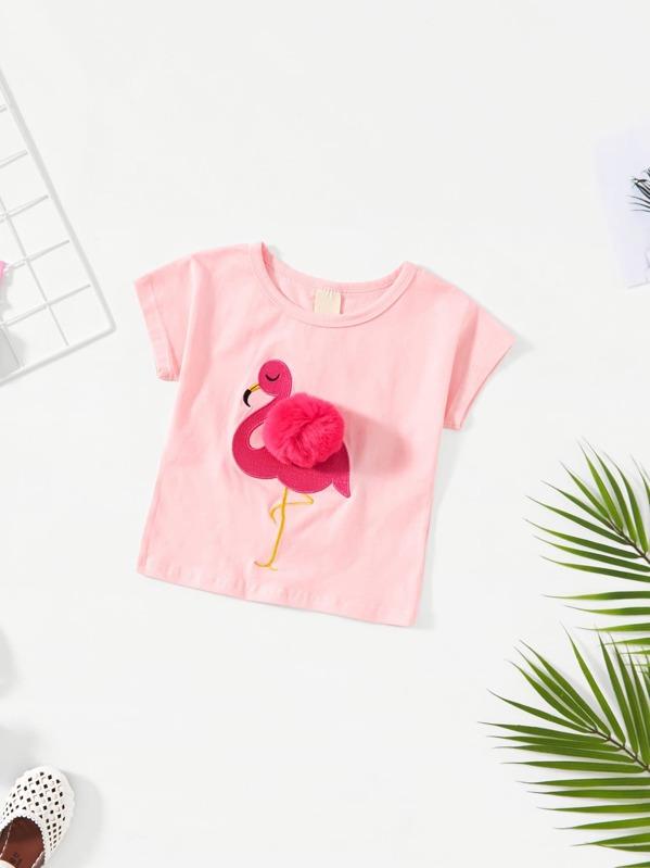 379ec9715ad Camiseta de niñas con pompón con estampado de flamenco