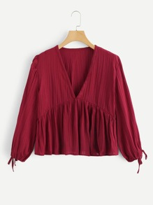 Solid Knot Sleeve V Neck Blouse
