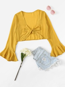 Tie Front Solid Crop Blouse